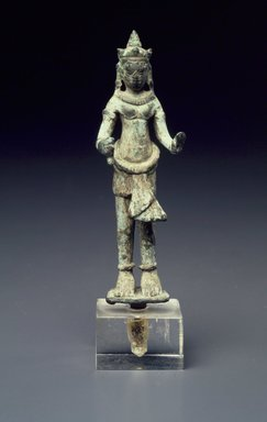 <em>Standing Female Deity</em>, 13th century. Bronze, 4 3/8 x 1 1/4 in. (11.1 x 3.2 cm). Brooklyn Museum, Gift of Dr. Stanley Friedman, 84.136.12. Creative Commons-BY (Photo: Brooklyn Museum, 84.136.12.jpg)