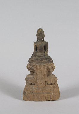 <em>Seated Buddha</em>, 17th century. Wood, Other (H): 6 1/8 in. (15.6 cm). Brooklyn Museum, Gift of Dr. Stanley Friedman, 84.136.14. Creative Commons-BY (Photo: Brooklyn Museum, 84.136.14_PS5.jpg)