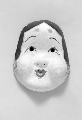 <em>Okame (The Goddess of Mirth and Sex)</em>, 19th century. Painted paper-mache, 7 1/2 x 5 1/2 in. (19.1 x 14 cm). Brooklyn Museum, Gift of Dr. John P. Lyden, 84.139.15. Creative Commons-BY (Photo: Brooklyn Museum, 84.139.15_bw.jpg)