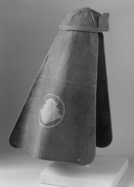 <em>Fireman's Hat</em>, 19th century. Leather, hemp cloth, stencil resist dyed crest, Diameter of cap: 7 1/2 in. Brooklyn Museum, Gift of Dr. John P. Lyden, 84.139.1. Creative Commons-BY (Photo: Brooklyn Museum, 84.139.1_bw.jpg)