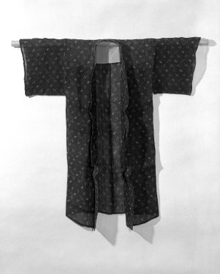 <em>Kimono</em>, 19th century. Bast-fiber cloth (possibly hemp or ramie), resist dyed in indigo, 44 x 43 in. (111.8 x 109.2 cm). Brooklyn Museum, Gift of Dr. John P. Lyden, 84.139.2 (Photo: Brooklyn Museum, 84.139.2_front_bw.jpg)
