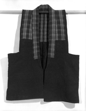 "<em>Chanchanko (Sleeveless Padded Vest)</em>, 19th century. Indigo-dyed cotton cloth, H: 31"" x W: 24"". Brooklyn Museum, Gift of Dr. John P. Lyden, 84.139.5 (Photo: Brooklyn Museum, 84.139.5_front_bw.jpg)"