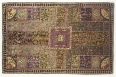 <em>Carpet with Garden Design</em>, 18th century. Wool pile on cotton foundation, symmetrical knot, 110 x 71 in. (279.4 x 180.3 cm). Brooklyn Museum, Bequest of Mrs. Joseph V. McMullan, gift of the Beaupre Charitable Trust in memory of Joseph V. McMullan, 84.140.16. Creative Commons-BY (Photo: Brooklyn Museum, 84.140.16_colorcorrected_SL1.jpg)