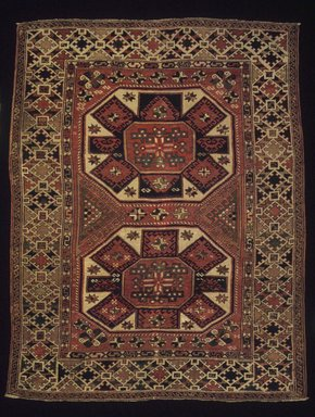 <em>Bergama Type Carpet</em>, late 19th century. Wool, 76 1/2 x 60 in. (194.3 x 152.4 cm). Brooklyn Museum, Bequest of Mrs. Joseph V. McMullan, gift of the Beaupre Charitable Trust in memory of Joseph V. McMullan, 84.140.3. Creative Commons-BY (Photo: Brooklyn Museum, 84.140.3_transp6377.jpg)