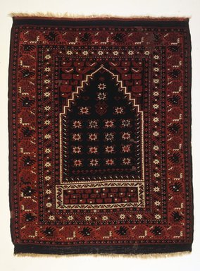 <em>Bergama Type Prayer Carpet</em>, ca. 1900. Wool, 53 x 40 in. (134.6 x 101.6 cm). Brooklyn Museum, Bequest of Mrs. Joseph V. McMullan, gift of the Beaupre Charitable Trust in memory of Joseph V. McMullan, 84.140.4. Creative Commons-BY (Photo: Brooklyn Museum, 84.140.4_transp6380.jpg)