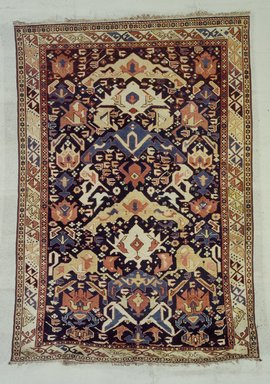 <em>Chichi or Dirband Type Carpet</em>, 1856. Wool, 55 1/2 x 33 1/2 in. (141 x 85.1 cm). Brooklyn Museum, Bequest of Mrs. Joseph V. McMullan, gift of the Beaupre Charitable Trust in memory of Joseph V. McMullan, 84.140.9. Creative Commons-BY (Photo: Brooklyn Museum, 84.140.9.jpg)