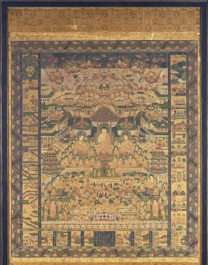 <em>Taima Mandara (Mandala, Mystic Diagram, Based on the one at Taima Temple</em>, 16th century. Hanging scroll, ink, color and gold on silk, 55 1/8 x 40 5/8 in. (140 x 103.2 cm). Brooklyn Museum, Gift of Dr. and Mrs. Charles Perera, 84.141.1 (Photo: Brooklyn Museum, 84.141.1_IMLS_SL2.jpg)