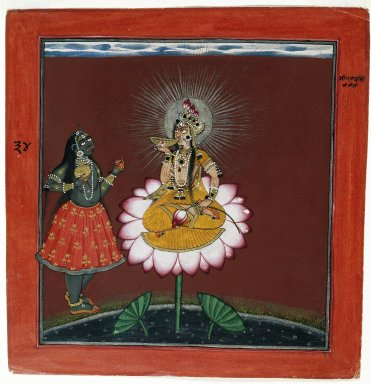 Indian. <em>Siddha Lakshmi with Kali</em>, ca. 1660-1670. Opaque watercolor, gold, silver, and beetle wing cases on paper, sheet: 8 5/8 x 8 3/8 in.  (21.9 x 21.3 cm). Brooklyn Museum, Gift of Mr. and Mrs. Robert L. Poster in honor of Dr. Bertram H. Schaffner, 84.142 (Photo: Brooklyn Museum, 84.142_IMLS_SL2.jpg)