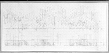 Cheryl Goldsleger (American, born 1951). <em>Stations: Analysis</em>, 1983. Graphite on paper, 29 3/4 x 64 7/8 in. (75.6 x 164.8 cm). Brooklyn Museum, Gift of the Florence Louchheim Stol Foundation, 84.167.5. © artist or artist's estate (Photo: Brooklyn Museum, 84.167.5_bw.jpg)