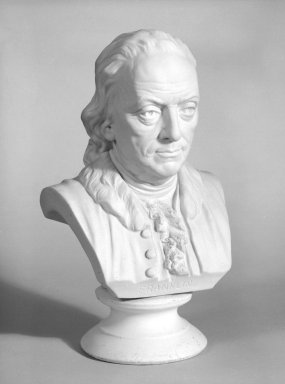 Ott and Brewer (1871-1893). <em>Bust of Benjamin Franklin</em>, ca. 1876. Parian porcelain, 10 x 5 x 4 in. (25.4 x 12.7 x 10.2 cm). Brooklyn Museum, Gift of Mr. and Mrs. Jay Lewis, 84.176.3. Creative Commons-BY (Photo: Brooklyn Museum, 84.176.3_bw.jpg)