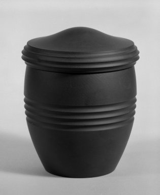 Keith Murray (English, born New Zealand, 1892-1981). <em>Tobacco Jar with Lid</em>, ca. 1933-1936. Earthenware and cork, Other: 4 1/4 x 3 1/2 in. (10.8 x 8.9 cm). Brooklyn Museum, Gift of Paul F. Walter, 84.178.6a-b. Creative Commons-BY (Photo: Brooklyn Museum, 84.178.6a-b_bw.jpg)