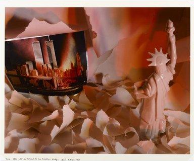Gail LeBoff (American, born 1950). <em>Lady Liberty's Homage to the Brooklyn Bridge</em>, 1983. Chromogenic photograph, sheet: 19 15/16 x 23 7/8 in. (50.6 x 60.7 cm). Brooklyn Museum, Gift of the artist, 84.18.2. © artist or artist's estate (Photo: Brooklyn Museum, 84.18.2_PS1.jpg)