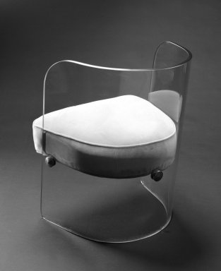Louis Dierra. <em>Armchair</em>, ca. 1939. Glass, modern upholstery, metal fittings, 29 x 22 3/8 x 22 1/2 in. (73.7 x 56.8 x 57.2 cm). Brooklyn Museum, H. Randolph Lever Fund, 84.180. Creative Commons-BY (Photo: Brooklyn Museum, 84.180_back_bw.jpg)