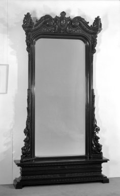 <em>Mirror</em>, ca. 1870. Ebonized wood (cherry?), gilt decoration, mirrored glass, 98 x 53 x 12 3/4 in. (248.9 x 134.6 x 32.4 cm). Brooklyn Museum, Purchased with funds given by Adaline Havemeyer Perkins Rand in memory of her mother, Mrs. Horace O. Havemeyer, 84.182. Creative Commons-BY (Photo: Brooklyn Museum, 84.182_view1_bw.jpg)