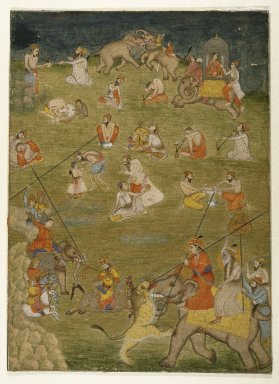 Indian. <em>Intoxicated Mystics and Assorted Subjects</em>, ca. 1775. Watercolor on paper with gold, sheet: 15 3/4 x 11 1/2 in.  (40.0 x 29.2 cm). Brooklyn Museum, Anonymous gift, 84.183 (Photo: Brooklyn Museum, 84.183_IMLS_SL2.jpg)