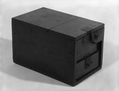 <em>Coin Chest</em>, 19th century. Cryptomeria and Cypress wood, 11 1/4 x 11 1/4 in. (28.6 x 28.6 cm). Brooklyn Museum, Gift of Mr. and Mrs. David Goldschild, 84.187.2. Creative Commons-BY (Photo: Brooklyn Museum, 84.187.2_bw.jpg)