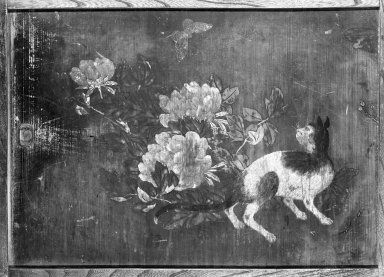 <em>Cats and Peonies (Pair of small Itado Woodsliding Doors)</em>, 18th century. Ink and color on Sugi (Cryptomeria wood), 23 3/4 x 32 5/8 in. (60.3 x 82.9 cm). Brooklyn Museum, Gift of Dale Jenkins, 84.192.2a-b. Creative Commons-BY (Photo: Brooklyn Museum, 84.192.2a-b_left_bw_IMLS.jpg)