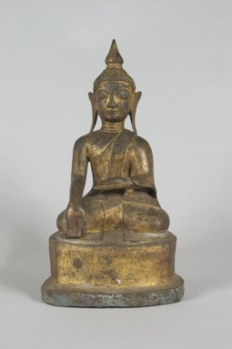 <em>Seated Buddha</em>, 18th century. Gilt bronze, 6 3/4 x 3 3/4 in. (17.1 x 9.5 cm). Brooklyn Museum, Gift of Dr. Harvey Lederman, 84.194.25. Creative Commons-BY (Photo: Brooklyn Museum, 84.194.25_PS5.jpg)