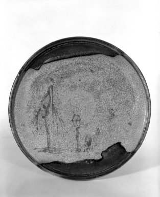 <em>Seto Ware Oil Plate</em>, 19th century. Buff stoneware, 1 1/4 x 8 1/2 in. (3.2 x 21.6 cm). Brooklyn Museum, Gift of Dr. and Mrs. John P. Lyden, 84.196.13. Creative Commons-BY (Photo: Brooklyn Museum, 84.196.13_bw.jpg)