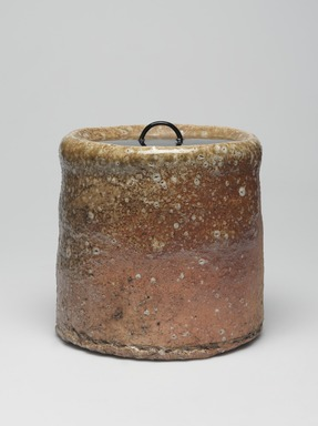 <em>Shigaraki Ware Mizusashi (Tea Ceremony Fresh Water Jar)</em>, ca. 1620. Buff stoneware with ash glaze, lacquer lid; Shigaraki ware, 6 x 6 1/2 in. (15.2 x 16.5 cm). Brooklyn Museum, Gift of Dr. and Mrs. John P. Lyden, 84.196.18a-b (Photo: , 84.196.18a-b_view01_PS9.jpg)
