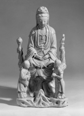 <em>Bodhisattva Guanyin</em>, 17th-18th century. Dehua ware: glazed white porcelain, 9 1/2 x 4 3/4 x 3 1/2 in. (24.1 x 12.1 x 8.9 cm). Brooklyn Museum, Gift of Dr. Ralph C. Marcove, 84.198.22. Creative Commons-BY (Photo: Brooklyn Museum, 84.198.22_bw.jpg)