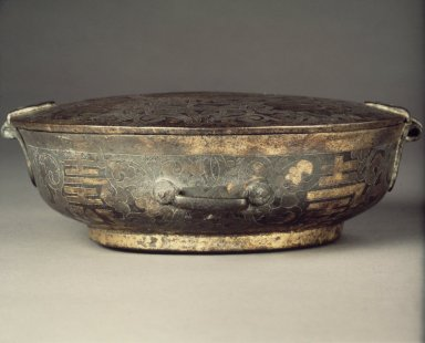 <em>Food Bowl with Hinged Lid</em>, 17th century. Iron, 2 1/4 x 6 1/2 in.  (5.7 x 16.5 cm). Brooklyn Museum, Gift of Dr. Ralph C. Marcove, 84.198.4. Creative Commons-BY (Photo: Brooklyn Museum, 84.198.4.jpg)