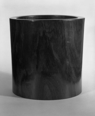 <em>Brush Jar</em>, ca. 1550. Hungmu (rosewood), 6 9/16 x 6 9/16 in. (16.7 x 16.7 cm). Brooklyn Museum, Gift of Mr. and Mrs. Alastair Bradley Martin, 84.199. Creative Commons-BY (Photo: Brooklyn Museum, 84.199_bw.jpg)