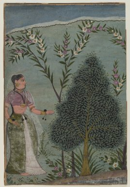 Indian. <em>Lady in the Wilderness, Fragment of a Page from a Bhagavata Purana Series</em>, ca. 1590-1600. Opaque watercolors and gold on paper, sheet: 6 5/8 x 4 1/2 in.  (16.8 x 11.4 cm). Brooklyn Museum, Anonymous gift, 84.201.2 (Photo: Brooklyn Museum, 84.201.2_IMLS_PS4.jpg)