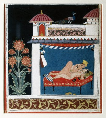 Indian. <em>Love Scenes</em>, 1660-1680. Opaque watercolor and gold on paper, 8 x 6 1/8in. (20.3 x 15.6cm). Brooklyn Museum, Anonymous gift, 84.201.3 (Photo: Brooklyn Museum, 84.201.3_IMLS_SL2.jpg)