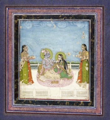 Indian. <em>Krishna and Radha Seated on a Terrace</em>, ca. 1760-1775. Opaque watercolor, gold, and silver on paper, sheet: 13 5/8 x 10 13/16 in.  (34.6 x 27.5 cm). Brooklyn Museum, Anonymous gift, 84.201.7 (Photo: Brooklyn Museum, 84.201.7_IMLS_SL2.jpg)