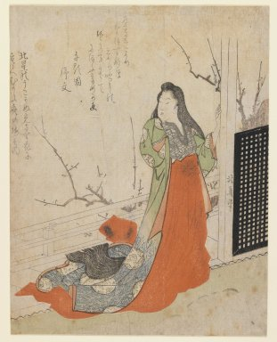 Totoya Hokkei (Japanese, 1780-1850). <em>Lady in Court Dress on Veranda with Flowering Plum</em>, ca. 1820. Color woodblock print on paper, 8 1/4 x 6 5/8 in. (21 x 16.8 cm). Brooklyn Museum, Gift of Mr. and Mrs. Peter P. Pessutti, 84.202.1 (Photo: Brooklyn Museum, 84.202.1_IMLS_PS3.jpg)