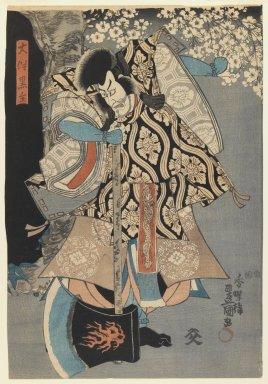 Utagawa Kunisada (Toyokuni III) (Japanese, 1786-1865). <em>Actor in the role of Ōtomo no Kuronushi</em>, ca. 1849. Color woodblock print on paper, 14 1/8 x 9 7/8 in. (35.9 x 25.1 cm). Brooklyn Museum, Gift of Mr. and Mrs. Peter P. Pessutti, 84.202.6 (Photo: Brooklyn Museum, 84.202.6_IMLS_PS3.jpg)
