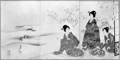 Chikanobu (Japanese). <em>Snow in the Garden, from the Chiyoda Inner Palace</em>, 1897. Woodblock print, 13 7/8 x 9 1/4 in. (35.2 x 23.5 cm). Brooklyn Museum, Gift of Mr. and Mrs. Peter P. Pessutti, 84.202.9 (Photo: Brooklyn Museum, 84.202.9_bw_IMLS.jpg)