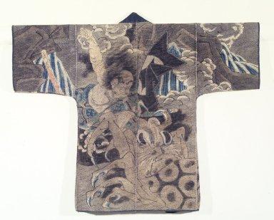 <em>Fireman's Coat</em>, 19th century. Indigo-dyed cotton, 37 1/2 x 46 1/2 in. (95.3 x 118.1 cm). Brooklyn Museum, Gift of Dr. Kenneth Rosenbaum, 84.203.1. Creative Commons-BY (Photo: Brooklyn Museum, 84.203.1.jpg)