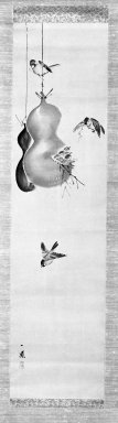 Mori Ippo (Japanese, 1798-1891). <em>Sparrows and Gourds</em>, 19th century. Hanging scroll painting; ink and light color on paper, 48 x 12 in. (121.9 x 30.5 cm). Brooklyn Museum, Gift of Dr. Kenneth Rosenbaum, 84.203.3 (Photo: Brooklyn Museum, 84.203.3_bw_IMLS.jpg)