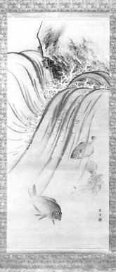 Nishiyama Nan'ei (Japanese, 1833-1897). <em>Fish, Waves and Rock</em>, 19th century. Hanging scroll painting; ink and light colors, Image: 45 1/2 x 20 1/2 in. (115.6 x 52.1 cm). Brooklyn Museum, Gift of Dr. Kenneth Rosenbaum, 84.203.4 (Photo: Brooklyn Museum, 84.203.4_bw_IMLS.jpg)