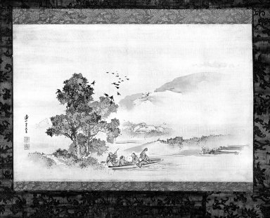 Kishi Renzan (Japanese, 1805-1859). <em>Ferry</em>, 19th century. Hanging scroll painting; ink and light color on silk, 13 1/4 x 20 1/8 in. (33.7 x 51.1 cm). Brooklyn Museum, Gift of Dr. Kenneth Rosenbaum, 84.203.6 (Photo: Brooklyn Museum, 84.203.6_bw_IMLS.jpg)