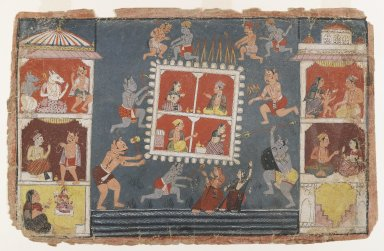 Indian. <em>Page from a Dispersed Bhagavata Purana Series</em>, ca. 1610-1650. Opaque watercolor on paper, 9 x 14 in. (22.9 x 35.6 cm). Brooklyn Museum, Gift of Dr. and Mrs. Robert Walzer, 84.206.1 (Photo: Brooklyn Museum, 84.206.1_IMLS_PS4.jpg)