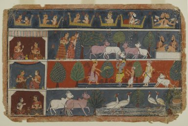 Indian. <em>Page from a Dispersed Bhagavata Purana Series</em>, ca. 1680. Opaque watercolor on paper, 9 1/8 x 14 in. (23.2 x 35.6 cm). Brooklyn Museum, Gift of Dr. and Mrs. Robert Walzer, 84.206.2 (Photo: Brooklyn Museum, 84.206.2_PS2.jpg)