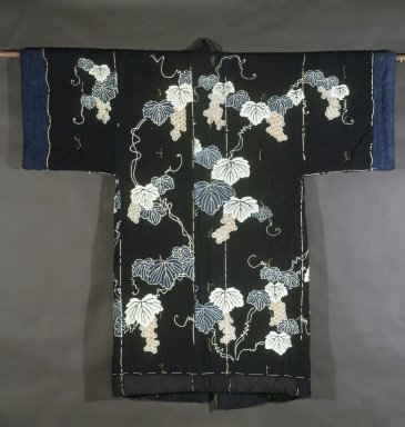 <em>Yogi (Bedding in Kimono form)</em>, 19th century. Padded indigo-blue cotton with grapevine design, 60 x 61 in. (152.4 x 154.9 cm). Brooklyn Museum, Designated Purchase Fund, 84.208 (Photo: Brooklyn Museum, 84.208.jpg)