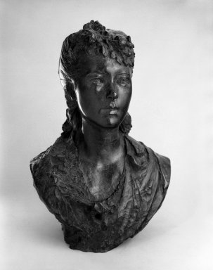Auguste Rodin (French, 1840-1917). <em>Young Girl with Flowers in her Hair (Jeune fille aux fleurs dans les cheveux)</em>, 1865-1870, cast 1979. Bronze, 19 x 13 3/4 x 9 1/2 in.  (48.3 x 34.9 x 24.1 cm). Brooklyn Museum, Gift of the Iris and B. Gerald Cantor Foundation, 84.210.6. Creative Commons-BY (Photo: Brooklyn Museum, 84.210.6_bw.jpg)