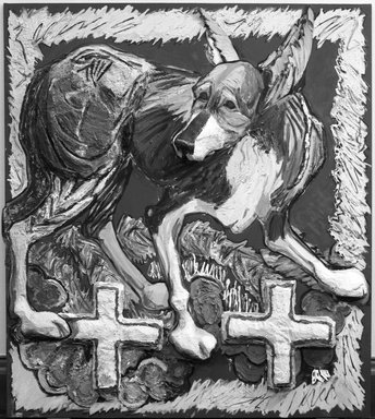Marcia Gygli King (1931-2011). <em>Dog with Crosses</em>, 1983. Oil, paper, styrofoam, and modeling paste on canvas, 72 1/4 x 63 3/4 in. (183.5 x 161.9 cm). Brooklyn Museum, Gift of Dita Naylor-Leyland in memory of Margarita Grace Phipps, 84.212. © artist or artist's estate (Photo: Brooklyn Museum, 84.212_bw.jpg)