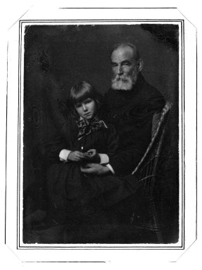 Gertrude Kasebier (American, 1852-1934). <em>[Untitled] (Seated Portait of William Rand with Grandaughter Peggy Lee in Lap)</em>, ca. 1900. Platinum print, 7 1/16 x 4 15/16 in. (17.9 x 12.6 cm). Brooklyn Museum, Gift of Mr. and Mrs. Miguel LaSalle and Peter Sinclair, 84.22.2 (Photo: Brooklyn Museum, 84.22.2_bw.jpg)