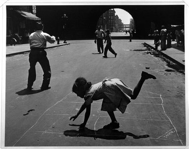 Walter Rosenblum (American, 1919-2006). <em>Hopscotch. 105th St., New York</em>, 1952. Gelatin silver photograph, sheet: 11 × 14 in. (27.9 × 35.6 cm). Brooklyn Museum, Gift of Lisa Rosenblum, 84.236.12. © artist or artist's estate (Photo: Brooklyn Museum, 84.236.12_bw.jpg)