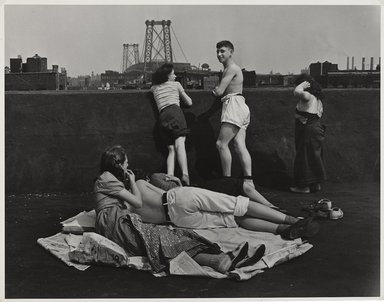 "Walter Rosenblum (American, 1919-2006). <em>""Rooftop"" Pitt Street, New York</em>, 1938. Gelatin silver photograph, sheet: 11 × 14 in. (27.9 × 35.6 cm). Brooklyn Museum, Gift of Lisa Rosenblum, 84.236.7. © artist or artist's estate (Photo: Brooklyn Museum, 84.236.7_PS9.jpg)"