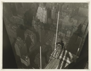 Lewis Wickes Hine (American, 1874-1940). <em>Raising the Mast,  Empire State Building</em>, 1931. Gelatin silver photograph, image: 13 1/2 x 10 1/2 in.  (34.3 x 26.7 cm). Brooklyn Museum, Gift of Walter and Naomi Rosenblum, 84.237.10 (Photo: Brooklyn Museum, 84.237.10_PS6.jpg)