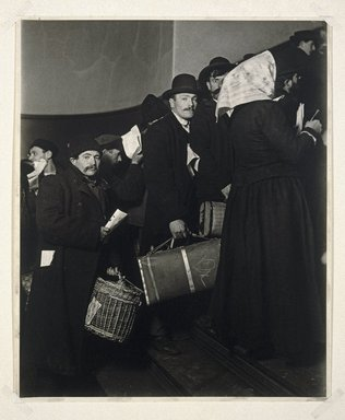 Lewis Wickes Hine (American, 1874-1940). <em>Climbing into the Promised Land, Ellis Island</em>, 1908. Gelatin silver photograph, image: 13 x 10 1/2 in. (33 x 26.7 cm). Brooklyn Museum, Gift of Walter and Naomi Rosenblum, 84.237.1 (Photo: Brooklyn Museum, 84.237.1_SL1.jpg)