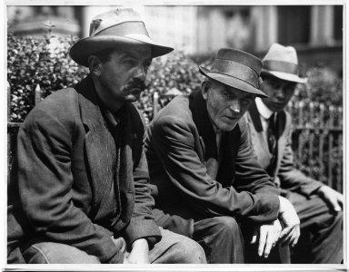 Lewis Wickes Hine (American, 1874-1940). <em>Unemployed.  New York City</em>, 1913. Gelatin silver photograph, image: 10 1/4 x 13 1/4 in. (26 x 33.7 cm). Brooklyn Museum, Gift of Walter and Naomi Rosenblum, 84.237.5 (Photo: Brooklyn Museum, 84.237.5_bw.jpg)