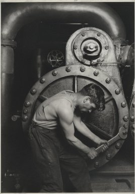 Lewis Wickes Hine (American, 1874-1940). <em>Power House Mechanic</em>, 1920-1921. Gelatin silver photograph, image: 13 1/2 x 9 1/2 in. (34.3 x 24.1 cm). Brooklyn Museum, Gift of Walter and Naomi Rosenblum, 84.237.7 (Photo: Brooklyn Museum, 84.237.7_PS2.jpg)