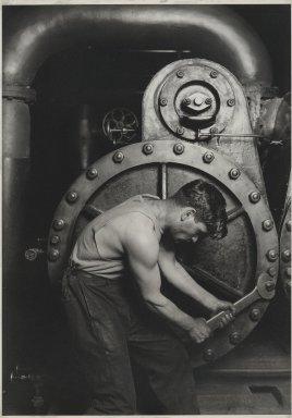 Lewis Wickes Hine (American, 1874-1940). <em>Power House Mechanic</em>, 1920-1921. Gelatin silver photograph, image: 13 1/2 x 9 1/2 in. (34.3 x 24.1 cm). Brooklyn Museum, Gift of Walter and Naomi Rosenblum, 84.237.7 (Photo: Brooklyn Museum, 84.237.7_PS2.jpg)